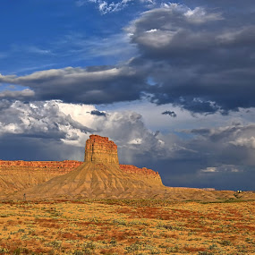 Storm over the Mesa by Kent Moody - Landscapes Deserts ( clouds, desert, utah, storms, rain )