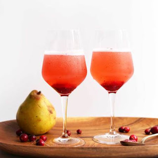 Pear & Cranberry Champagne Cocktails.