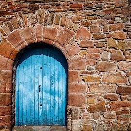 8522 by Zsolt Zsigmond - Buildings & Architecture Architectural Detail ( bricks, red, door, blue, wall, architecture )
