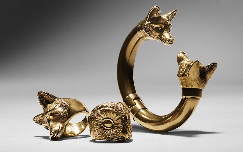 Photo: Fox Detail Bangle, Metal Fox Ring and Metal Owl Ring