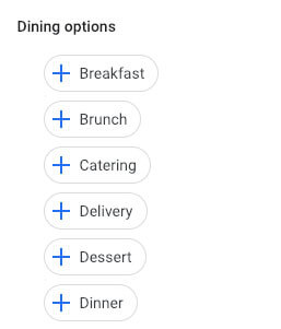 google my business for restaurants attributes