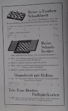 Photo: Uhlig catalogue c1913, p.18  Travelling & pocket chess boards, with fine bone figures and reserve-holes on the border for figures out of play  Travelling chess-boards, foldable without interrupting the game (a form of Whittington-style travel set with red/white bone chessmen)  Draughtboard with Halma  Tric-trac board with Puff playing cards