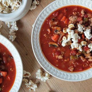 Turkey Chili with Spicy Popcorn