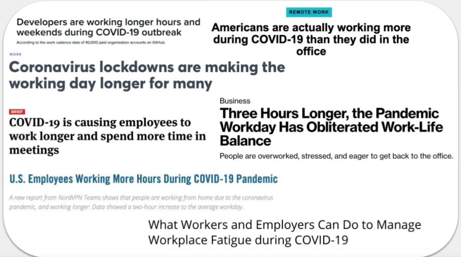 compilation of headlines describing increased hours due to work from home