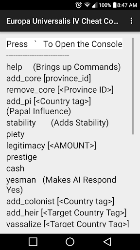 Console Commands for Europa