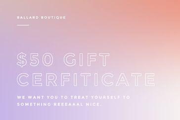 Ballard Boutique - Gift Certificate Template
