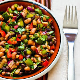 Southwestern Bean Salad with Black Beans, Black-Eyed Peas, Peppers, and Cilantro.