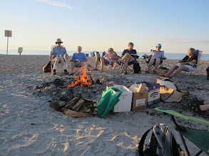 Photo: A nice fire.  Ed, Courtenay, Joanne, Bill, Anne and Nancy.