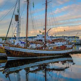 Húsavík, Iceland Harbor by Ron Knight - Transportation Boats ( iceland, harbor, húsavík, boats, sunrise, september )