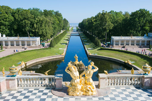 The terrace overlooking the stunning grounds of Peterhof Palace near St. Petersburg, Russia.