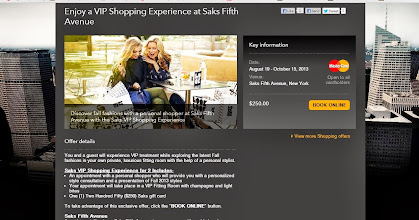 Photo: If you're a native New Yorker, or just passing through, as a MasterCard holder you can have access to amazing Priceless New York MasterCard Experiences - like this one I spotted on their website recently! With this experience you get the actual price of the complete experience back in a Saks gift card, it's pretty much like getting A-Lister treatment for free!