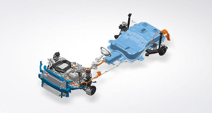 ตำแหน่งการวางแบตเตอรี่และมอเตอร์ไไฟฟ้าของ Hyundai Ioniq