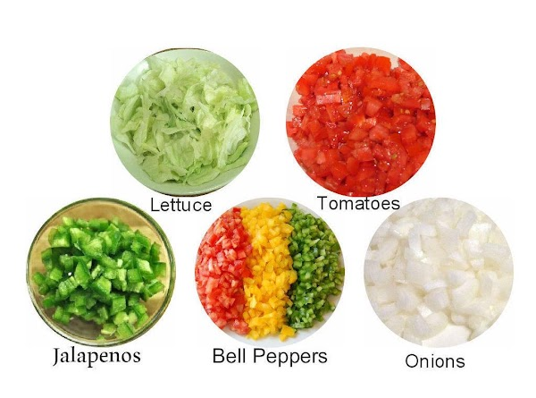 Shred the lettuce & set aside. Chop the tomatoes, bell peppers, jalepeno peppers, &...