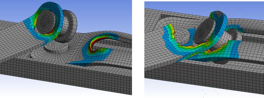 ANSYS - Вырывание крепёжного элемента и разрыв проушины, смоделированные с помощью явного метода