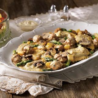 Sausage and Cheese Ravioli Sauté with Six-Layer Salad Recipe