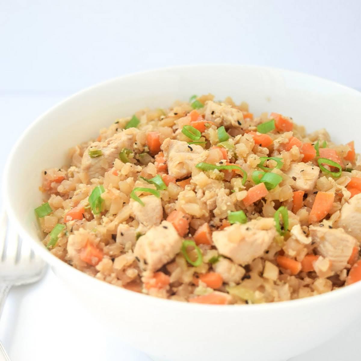 Whole30 Cauliflower Chicken Fried Rice (Gluten Free Paleo Keto)