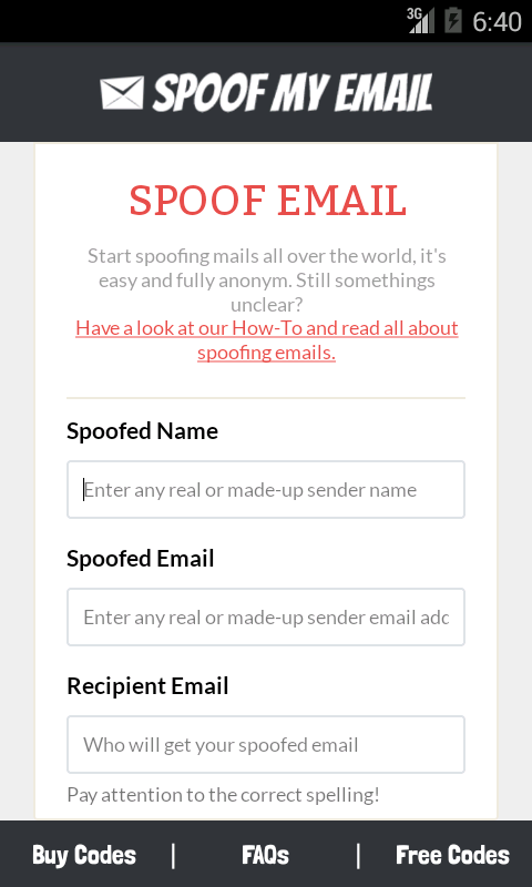 Spoof my Email- screenshot