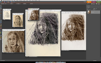 """Photo: Self-Portrait, 2011, 20.5cm x 25.5cm, 8"""" x 10"""", archival, Rotring and India inks on archival paper. Instead of a slideshow of the process of this ink drawing, I've opened the images in Photoshop Elements and taken a screen capture. The plain pencil sketch upper left and the black and white one in the middle are the 'real' ones - the others have been filtered with Sepia (& currently used for profile pics at Identica, Twitter & Facebook♥:). I know, it is a bit much.:))"""