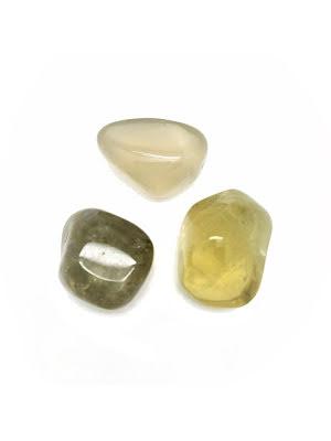 Citronkvarts, AA limefärgad trumlad kristall