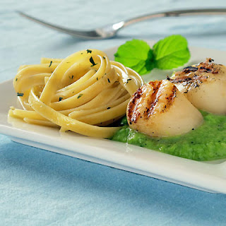 Hot Peas & Cold Butter Make a Silky Sauce for Grilled Scallops & Fettuccine