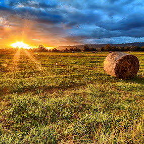 Sunset at the Lord family farm by Andy Hutchinson - Landscapes Prairies, Meadows & Fields ( farm, hay, landscape )