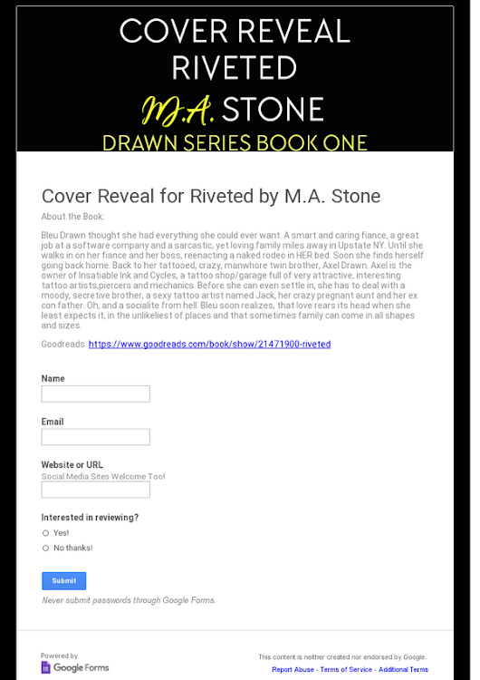 Cover Reveal for Riveted by M.A. Stone
