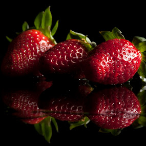 Tasty Strawberries by Sam Mirrado - Food & Drink Fruits & Vegetables ( fruit, reflection, red, strawberries, black )