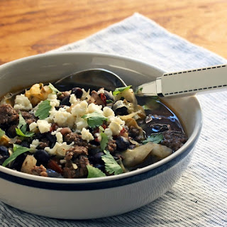 Spicy Black Bean, Beef, And Cabbage Soup With Lime And Queso