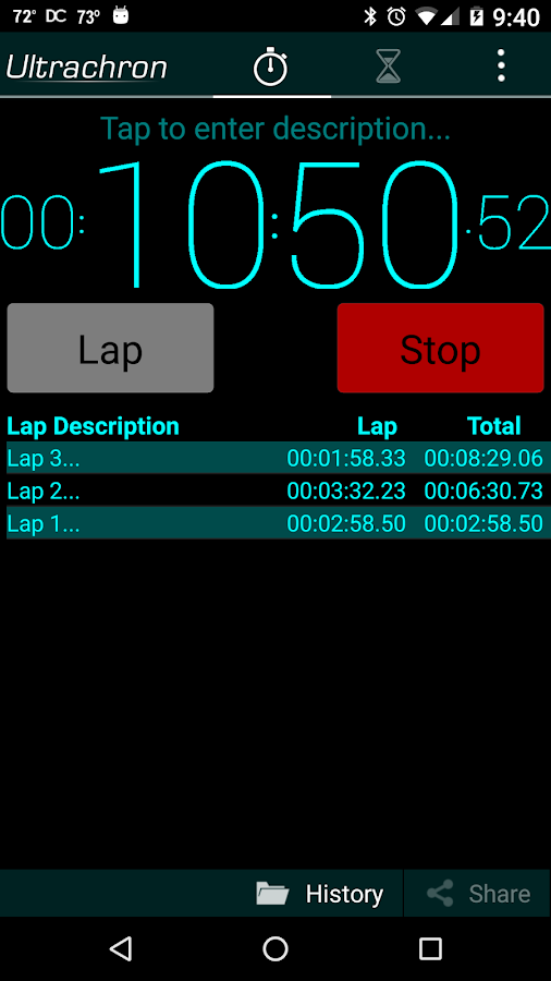 Ultrachron Stopwatch & Timer- screenshot
