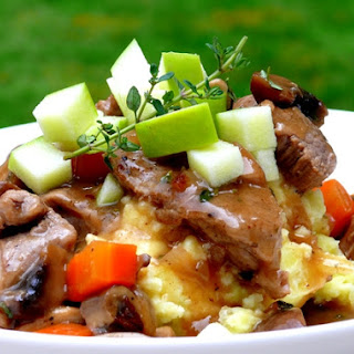 Pork & Mushroom Stew Served Over Apple-Potato Mash