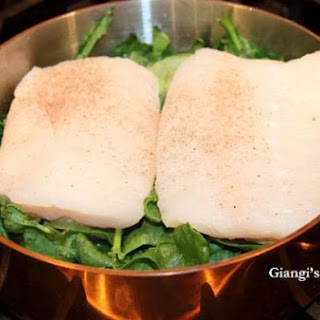 Steamed Sea Bass with Spinach.