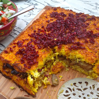 Vegetarian Persian-Style Rice Cake With Barberries, Aubergine & Mushrooms