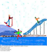 """Photo: Чобану Кэтэлина, 9 класс. Нестеровский лицей """"Две полоски на снегу оставляю на бегу. Я лечу от них стрелой, а они опять за мной!"""""""
