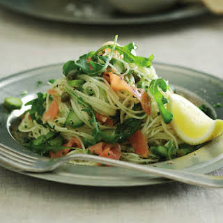 Angel Hair Pasta with Smoked Salmon and Asparagus.
