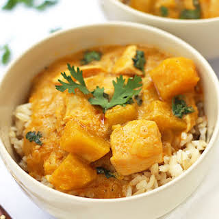 Thai Yellow Coconut Curry with Chicken and Squash.