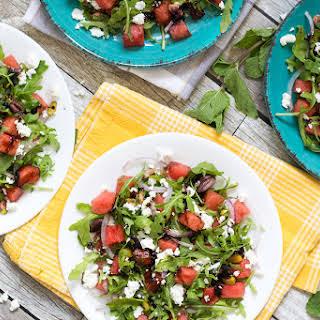 Arugula Watermelon Salad with Balsamic Reduction.