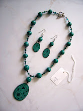 "Photo: PCC- 104 Necklace and earrings set. Polymer Clay Malachite cane beads and crystal beads. 20"", $89.00"