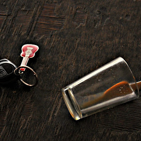 After the party by Satminder Jaggi - Artistic Objects Still Life ( glass, spill, guitar, key chain, tea )