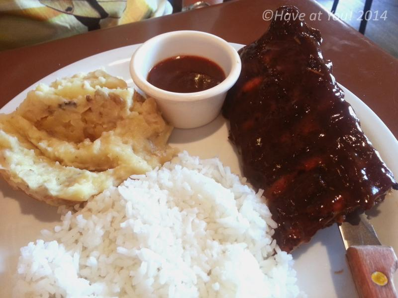 ribs with rice and mashed potatoes