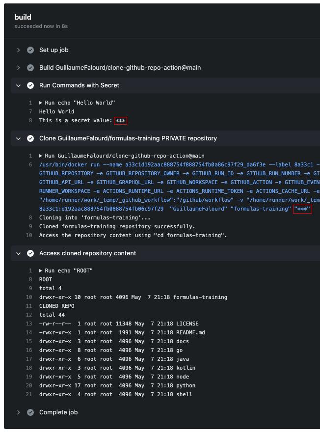 Ilustração do output do workflow usando secrets no Actions.