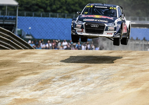 Andreas Bakkerud flies to victory in the Silverstone, UK round of the World RX championship. Picture: AUDI MOTORSPORT