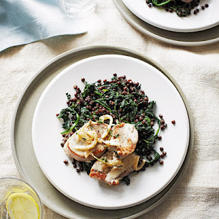 Creamy Pork Medallions With Spinach And Lentils.