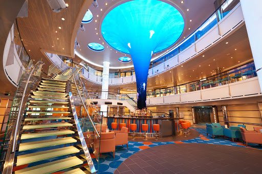 The Atrium on Carnival Vista is a lively spot for taking in the action after a day in port.
