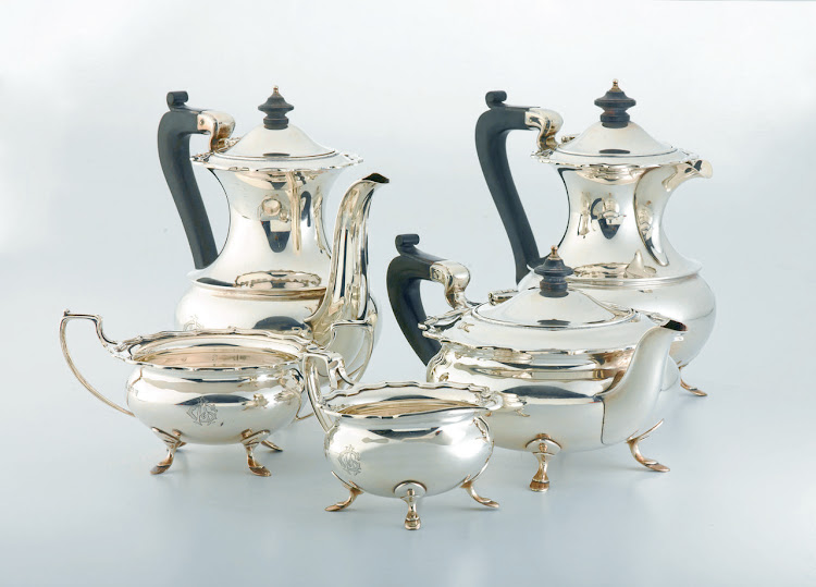 George VI five-piece silver tea and coffee set, Elkington & Co Ltd, Birmingham, 1937. Picture: SUPPLIED