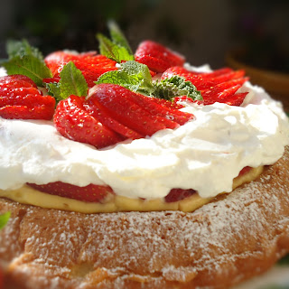 Strawberry Custard Mary Ann Cake with Whipped Cream.