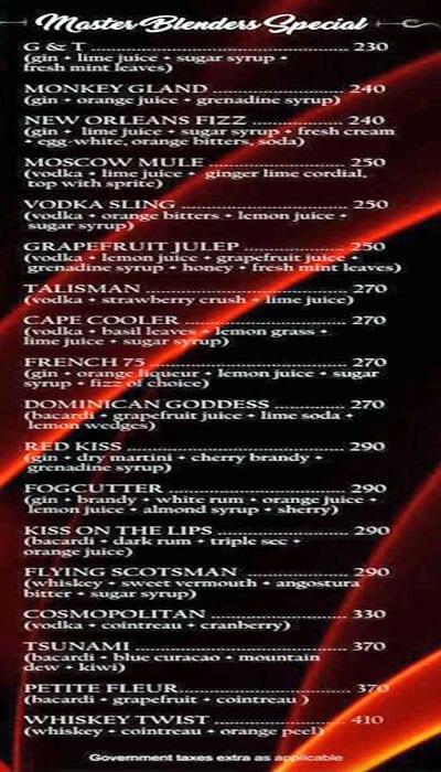 Royale MasterChef Lounge menu 2