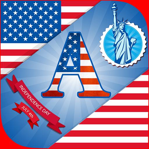 4th July DP Maker : American Flag Theme Alphabet