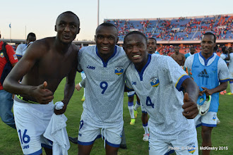 Photo: Full Time: Rwanda Amavubi celebrate a 1-0 victory over Mozambique in opening AFCON2017 Qualifier. [Rwanda Amavubi v Mozambique 14 June 2015 (Pic © Darren McKinstry / www.johnnymckinstry.com)]