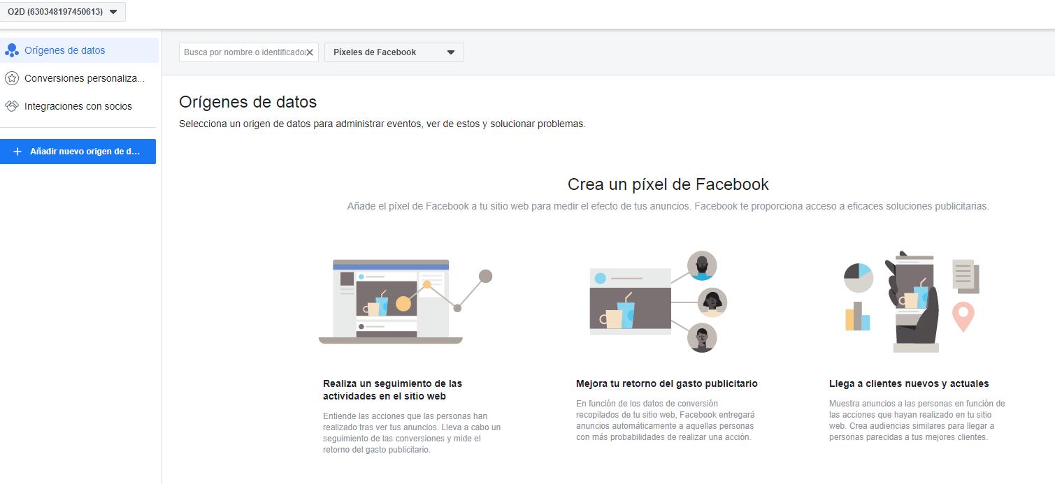 Página para crear el pixel de Facebook