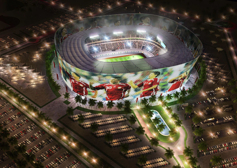"""Photo: DOHA, QATAR - UNDATED:   In this handout image supplied by Qatar 2022  The Al-Rayyan stadium  is pictured in this artists impression as Qatar 2022 World Cup bid unveils it's stadiums on September 16, 2010 in Doha, Qatar. It has been designed to include a """"media facade"""" that includes a membrane that acts as a screen for projections; news, commercials, sports updates and current tournament information and matches.  (Photo by Qatar 2022 via Getty Images)"""